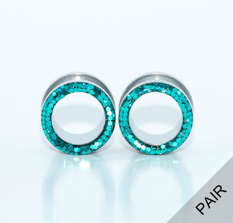 Teal Sparkle Tunnel Plugs - Defiant Jewelry