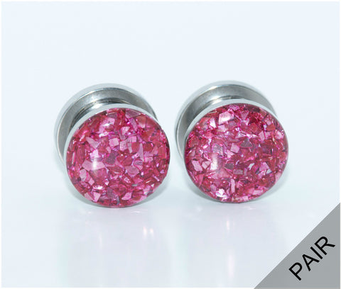 Pink Crushed Glass Plugs - Defiant Jewelry