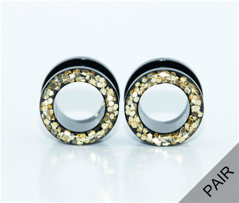 Gold Sparkle Tunnel Plugs - Defiant Jewelry