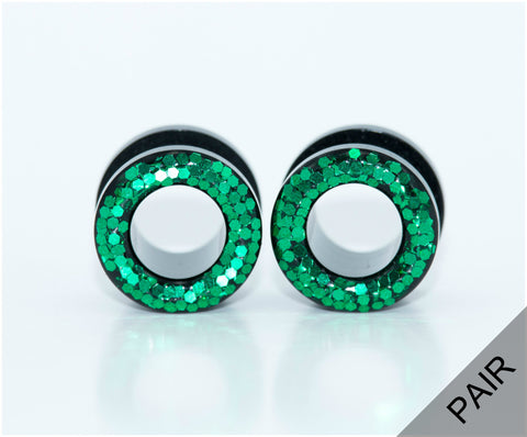 Emerald Green Glitter Tunnel Plugs - Defiant Jewelry