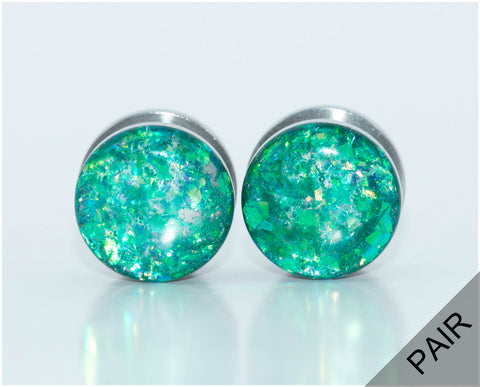 Green Holographic Plugs - Defiant Jewelry