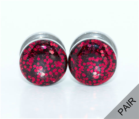 Red Glitter Sparkle Plugs - Defiant Jewelry