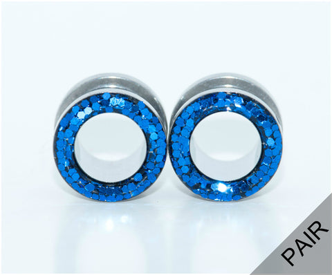 Blue Sparkle Tunnel Plugs - Defiant Jewelry