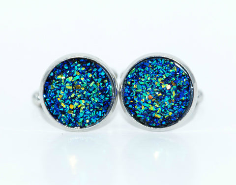 Crushed Blue Sparkle Cufflinks - Defiant Jewelry