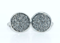 Crushed Dark Grey Cufflinks - Defiant Jewelry