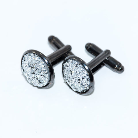 Crushed Silver Sparkle Cufflinks - Defiant Jewelry