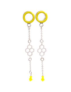 Sunny Yellow Tunnel honeycomb Chain Dangle Plugs