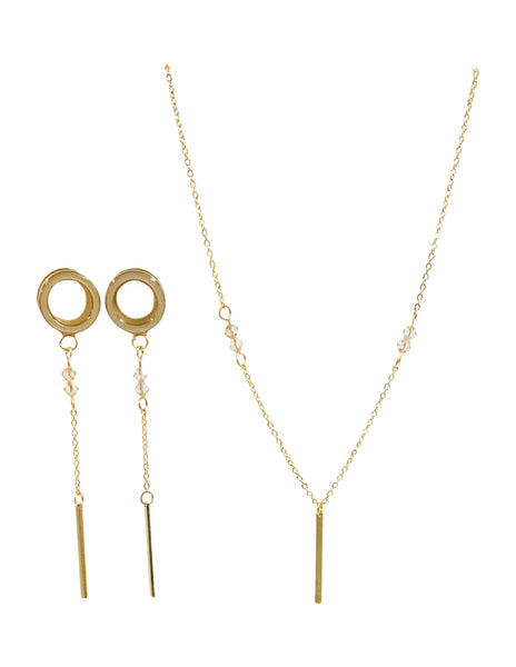 Satin Tunnel Minimalist Bar Dangle Plugs and Necklace Set