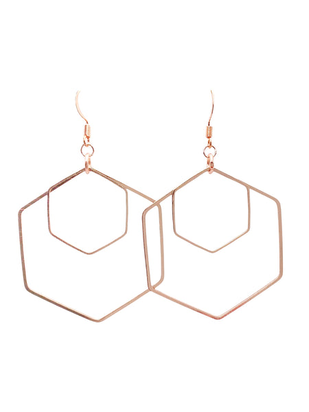 Double Hexagon Dangle Earrings