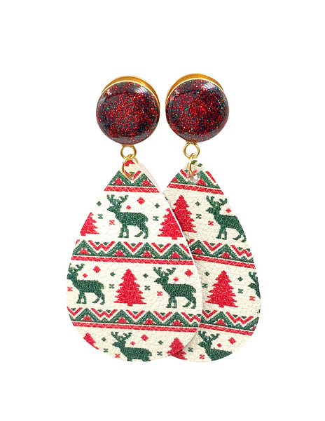 Red and Green Christmas Sparkle Faux Suede Teardrop Dangle Plugs