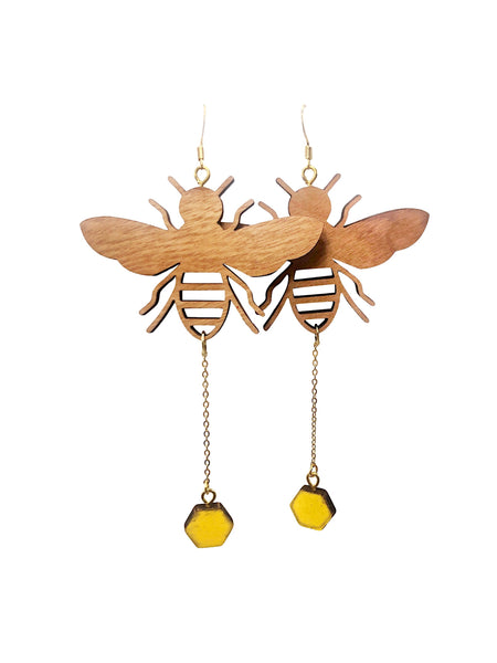 Cherry Wood Honeybee Hexagon Dangle Earrings