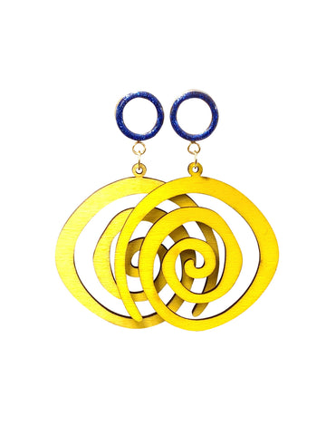 Blue Sparkle Tunnel with Yellow Wood Swirl Dangle Plugs