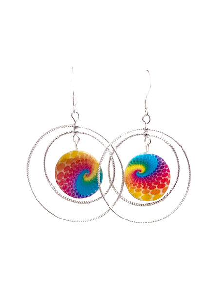 Tie Dye Rotating Rope Hoop Earrings