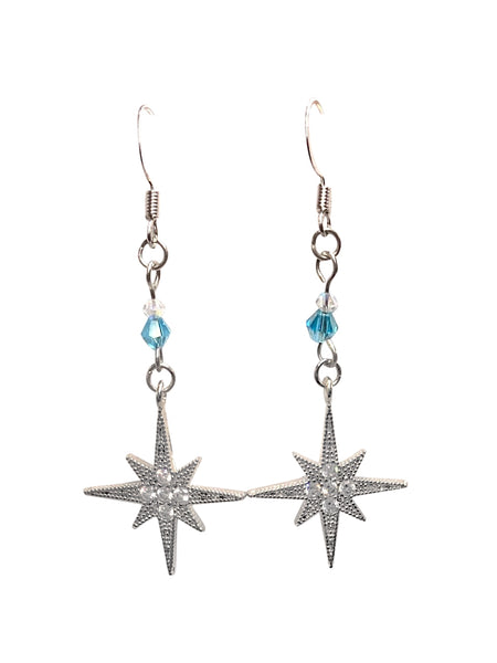 Sky Blue CZ North Star Dangle Earrings