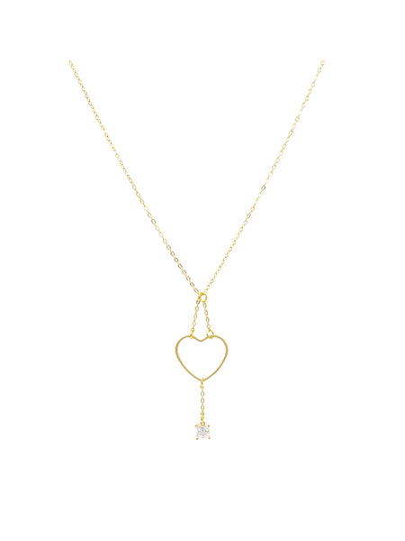 Chain Heart with CZ Square Necklace