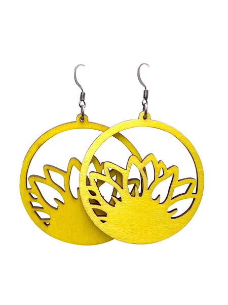 Yellow Sunflower Wood Hoop Dangle Earrings
