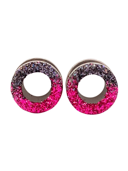 Pink and Black Ombré Raw Sparkle Tunnel Plugs