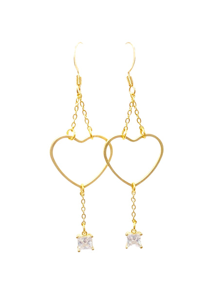 Heart Chain with Square CZ Dangle Earrings