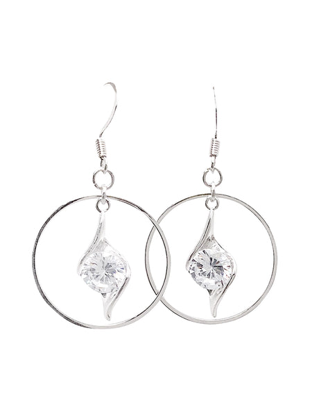 Circle CZ Twist Dangle Earrings