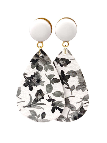 Black and White Vintage Floral Faux Leather Teardrop Dangle Plugs