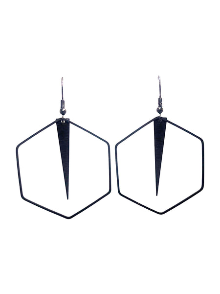 Geometric Hexagon and Arrow Dangle Earrings
