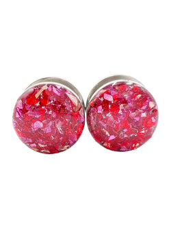 Red and Pink Crushed Glass Plugs