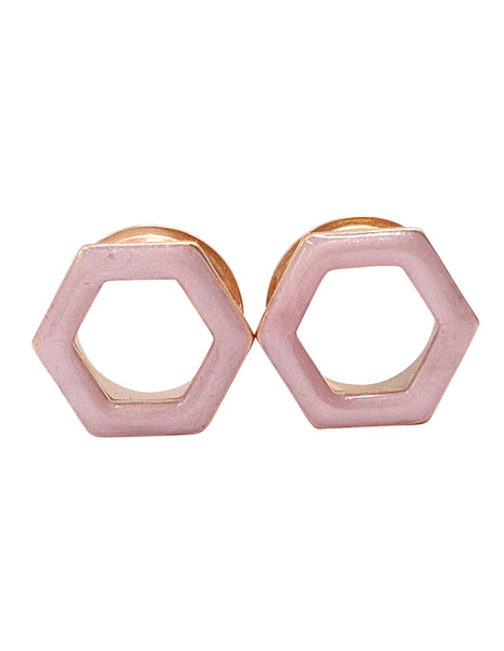 Soft Pink Shimmer Tunnel Hexagon Plugs