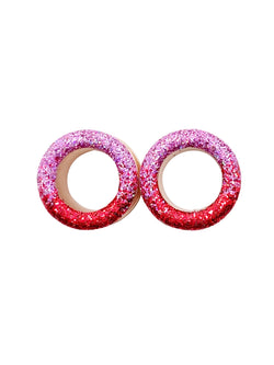 Pink and Red Ombré Raw Sparkle Tunnel Plugs