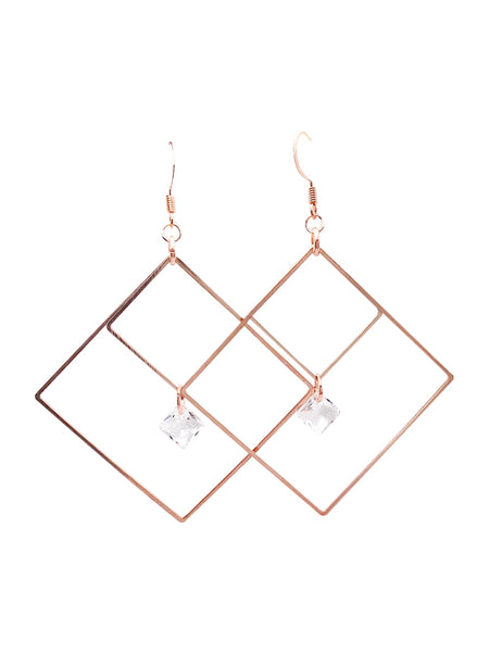 Double Square Crystal Dangle Earrings