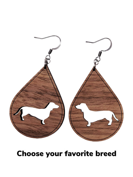 Custom Dog Breed Wood Cutout Earrings