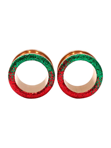 Red and Green Raw Sparkle Ombre Tunnel Plugs