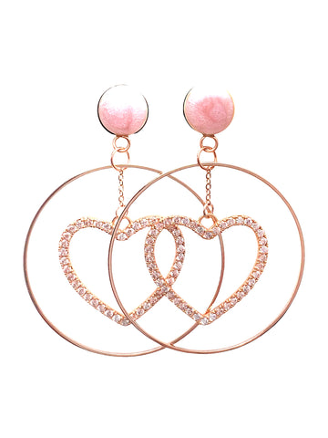 Soft Pink CZ Heart Hoop Wood Dangle Plugs