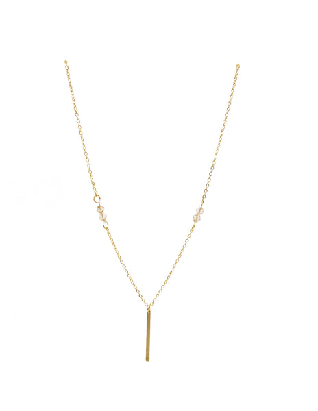 Minimalist Bar Swarovski Beaded Necklace