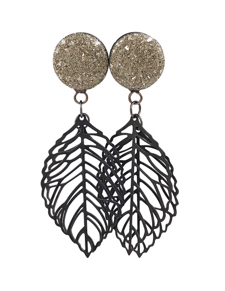Silver Crushed Glass Double Leaf Dangle Plugs