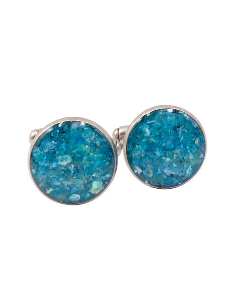 Ocean Blue Crushed Shell Cufflinks