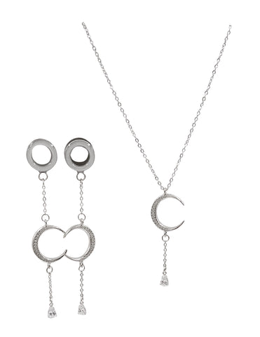 Satin Tunnel CZ Moon and Teardrop Plug Necklace Set
