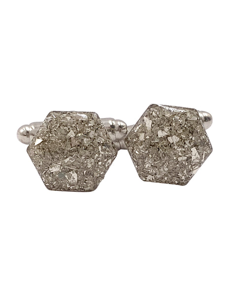 Silver Glass Hexagon Cufflinks