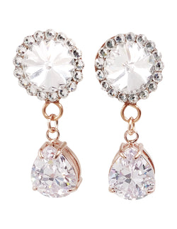 Clear Swarovski Crystal Teardrop Dangle Plugs