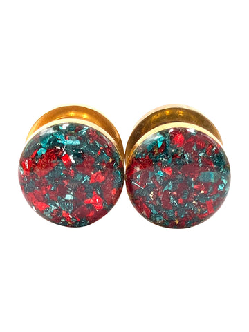 Red and Emerald Green Crushed Glass Plugs