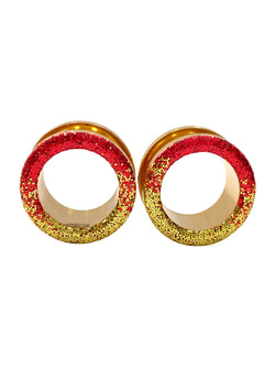 Red and Gold Ombré Raw Sparkle Tunnel Plugs