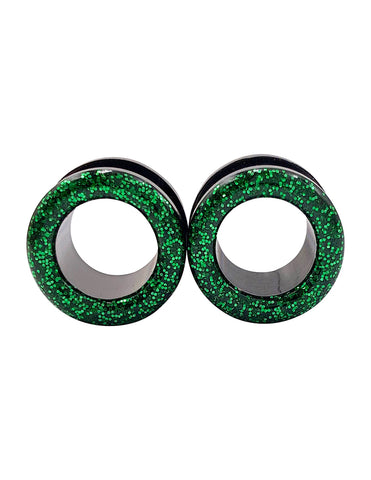 Emerald Green Sparkle Tunnel Plugs