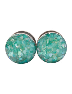 Island Blue Green Crushed Shell Plugs