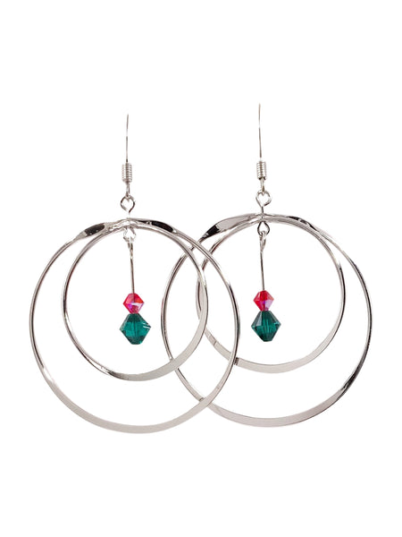Red and Green Swarovski Bead Rotating Hoops Earrings