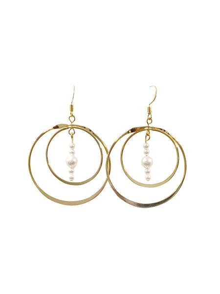 Rotating Hoop Pearl Beaded Earrings