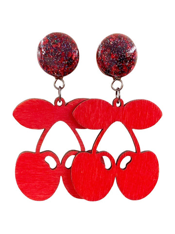 Black and Red Crushed Glass Cherry Wood Dangle Plugs
