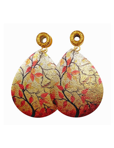 Gold Sparkle Tunnel Fall Leaf Teardrop Dangle Plugs