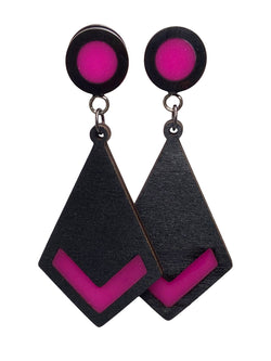 Flat Top Magenta Gloss Diamond Dangle Plugs