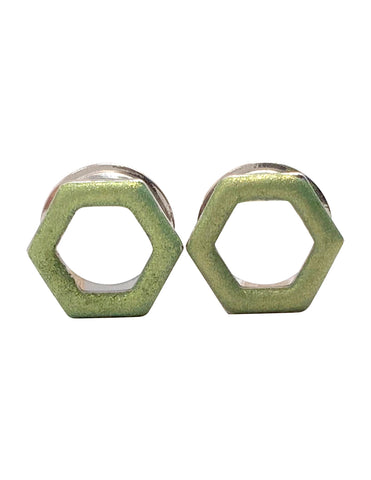 Matte Light Green Tunnel Hexagon Plugs