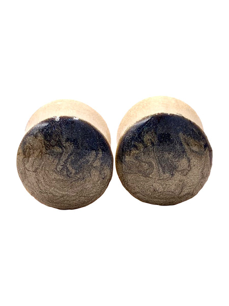 Royal Blue and Gold Wave Wood Plugs