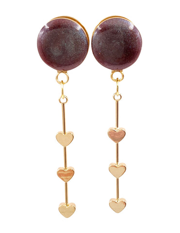 Chameleon Burgundy Heart Drop Dangle Plugs